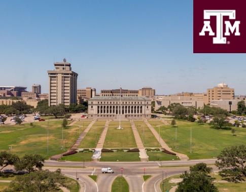 Texas A and M logo and dental school builidng